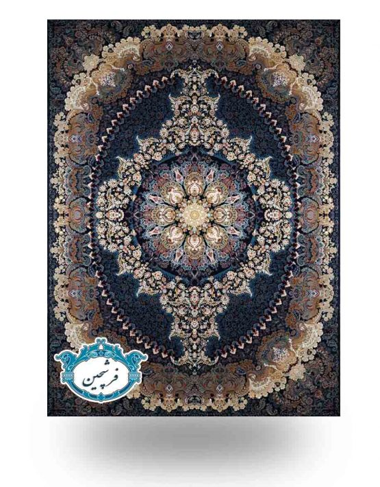 فرش ماشینی-  طرح ترانه 700 شانه   سرمه ای