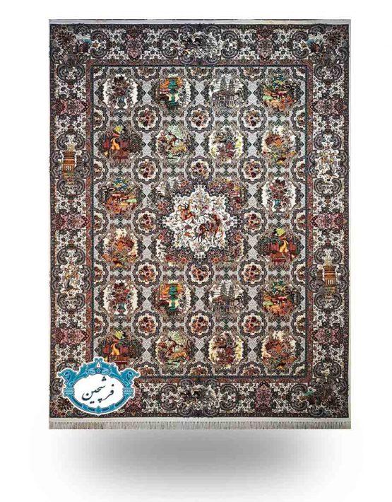 فرش ماشینی-طرح خشت 1200 شانه                        کرم