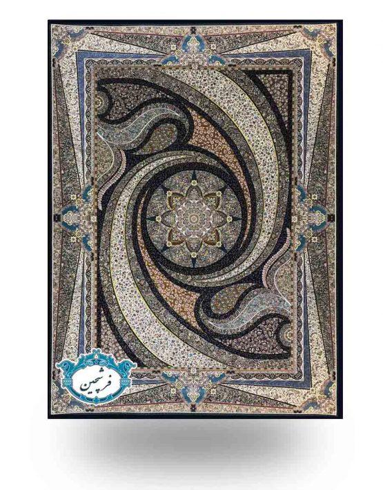 فرش ماشینی-طرح کهکشان           1000شانه سرمه ای